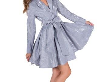 Autumn Raincoat, Elegant Outerwear, Light Blue Raincoat, Summer Raincoat,