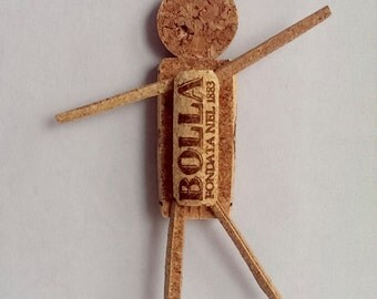 Wine Cork Magnet - Sculpted Cork - Wine-O Corkman - Refrigerator Magnet - Wine Lover Gift