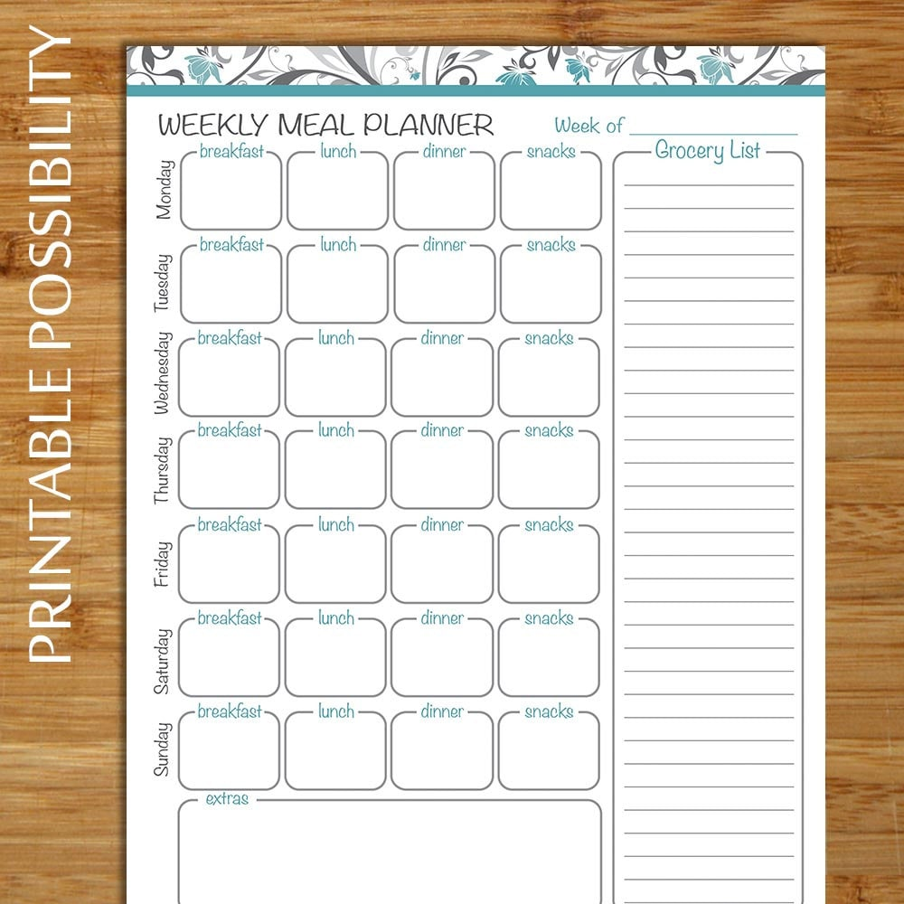 weekly menu planner    grocery list meal planner printable file
