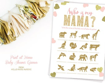 Who is my Mama Mommy Pink and Gold Baby Shower Games . Animal Names . Instant Download . Pink and Gold . Baby Girl . Glitter Hearts Confetti