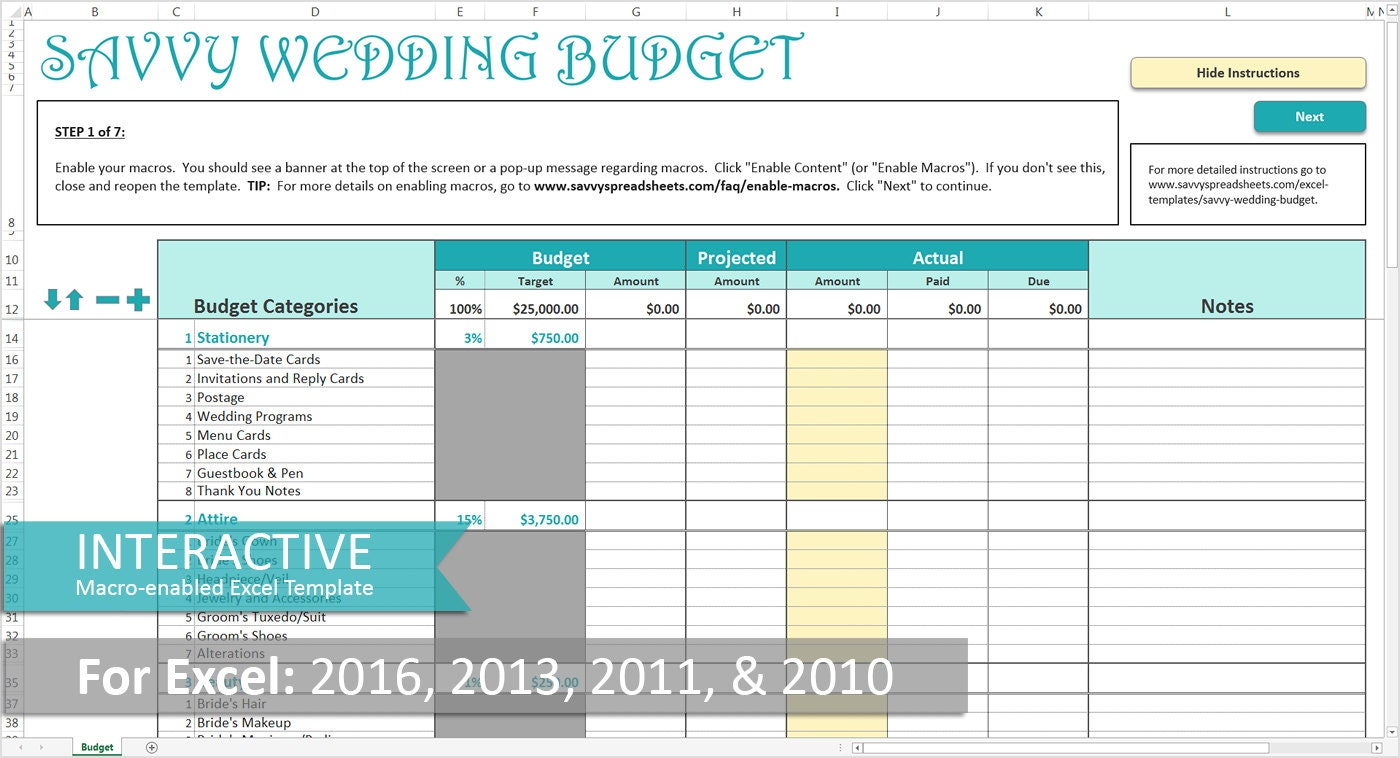 Savvy Wedding Budget Turquoise Excel Wedding Budget