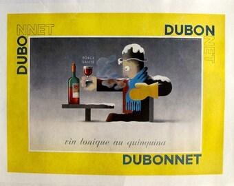 1920s Original French Art Deco Poster, Dubonnet Wine - Cassandre, Vintage Alcohol Print, Wine Art