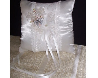 Ring Bearer Pillow, White Satin Ring Bearer Pillow