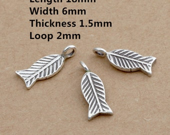 4 Thai Karen Hill Tribe Silver Little Fish Charms, Higher Silver Content than Sterling Fish Charms, Little Fish Bracelet Charms - E307