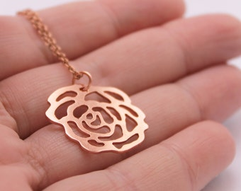 Copper Rose Pendant, Handmade Rose Necklace with Copper Chain, Flower Jewelry, Copper Pendant, Copper Rose, Romantic Jewelry, gift for her