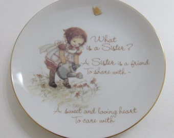 25% OFF SALE Lasting Memories Sister Collector Plate 1978 sister-friend little girl watering flowers butterfly earthtone colors browns