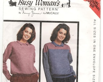 McCall's McCalls Busy Woman's sweatshirt / top Size 6, 8, 10, 12, 14, 16, 18, 20 Women's and plus size sweatshirt pattern, By Nancy Zieman.
