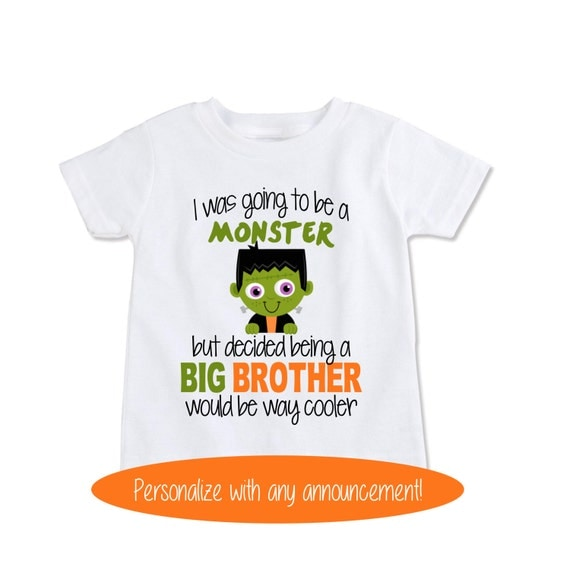 Items similar to big brother monster shirt halloween for Big sister birth announcement shirts
