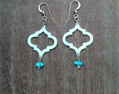 3D Printed Symmetric Moroccan Tile Earrings, Ivory Natural White ABS, Turquoise Stone, Tiny Clear Swarovski ® Crystal, Gold Filled Findings
