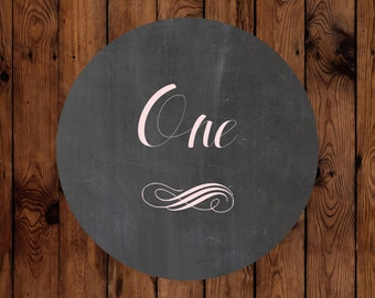 Rustic Chalkboard Inspired Wedding Table Number Circles 1-20 with Elegant Accents - Custom Colors Available