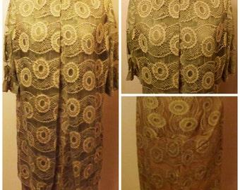 60s Sleeveless Green Evening Dress w Sheer Mesh Jacket Size 14