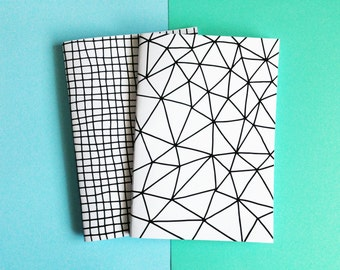 A5 Notebook, Geometric Pattern Notebook, Handmade Sketchbook, Journal, Geometric Diary, Gifts For Stationery Addicts, Blank Lined Notebook