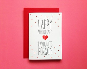 Favourite Person Anniversary Card, Happy Anniversary To My Favorite Person Greeting, Anniversary Card Husband, Anniversary Card For Wife