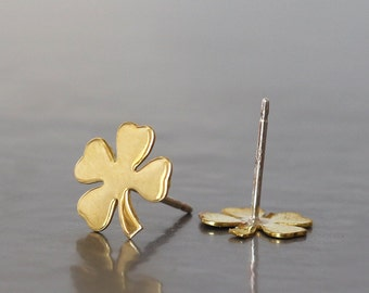 Four Leaf Clover studs earrings ,Clover earrings ,Lightweight earrings ,St Patricks Day,Small Brass clover  with sterling silver post,Lucky