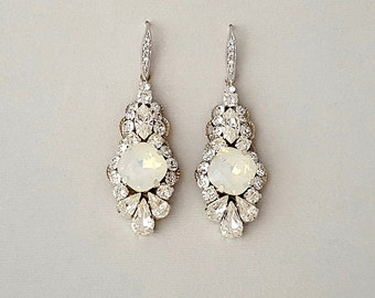 Wedding Earrings - OPAL Dangle Earrings, Bridal Earrings, Vintage Wedding, Crystal Earrings, Swarovski Crystals, Wedding Jewelry - KARLA