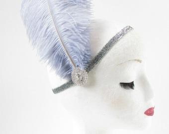 Grey Ostrich Feather Headband Flapper 1920s Great Gatsby Vintage Headpiece Silver Z01