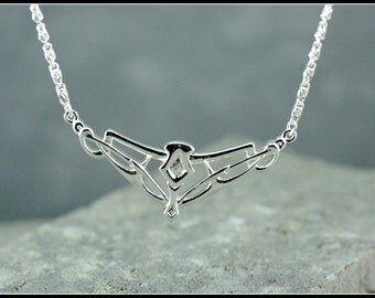Silver celtic necklace, silver art nouveau necklace, medieval silver necklace, symbolic women jewelry, handmade jewelry, medieval wedding