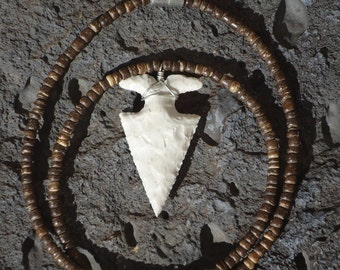 Stone Wood Arrowhead Necklace
