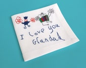 Personalized handkerchief - Your childrens drawing embroidered - Custom handkerchiefs - Personalized gifts for grandpa - Your child's art