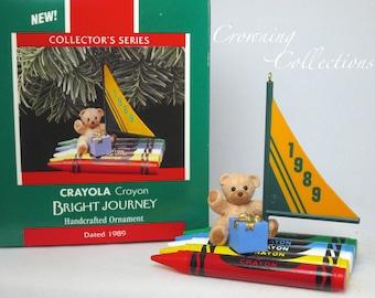 1989 Hallmark Bright Journey Crayola Crayons Keepsake Ornament 1st in Series Sail Boat Teddy Bear