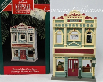 1992 Hallmark Five and Ten Cent Store Keepsake Ornament Nostalgic Houses and Shops Series 9th in box #9 Christmas Vintage