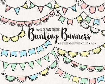 Bunting Banner Clip Art. Doodle Flag Banners. Hand Drawn Party Garland Clipart. Pastel Pink & Mint Birthday, Baby Shower, Wedding Bunting.