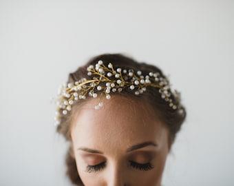 SALE Bridal Hair Wreath | Crystal Bridal Vine | Gold Pearl Vine | Crystal Pearl Vine | Gold Bridal Headpiece | Pria Headpiece
