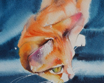 Original watercolour of a cat