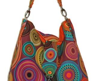 Hobo Bag Purse, Slouchy Purse, Hobo Shoulder Bag, Orange Fabric Purse, Large Hobo Bag, Gift for Her