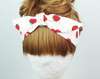Strawberry headband, Hair Wrap, fruit headband, Women's headband, Twist turban, knot headband, yoga headband