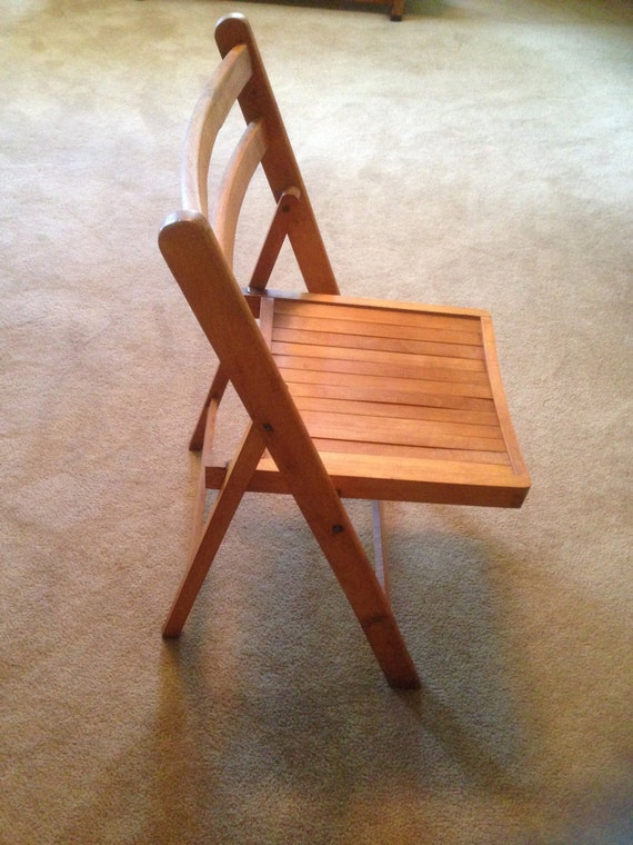 Vintage Wood Folding Chair Made In Yugoslavia Dove Tail