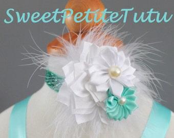 Aqua and white headband, blue and white headband, baby headband, Preemie headband, adult headband, newborn headband, flower girl