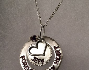 Personalized, hand stamped mother, girlfriend, sister, or memory necklace.