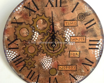 "12"" original mixed media steampunk wall clock"