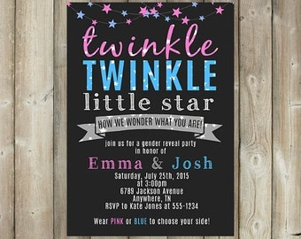 GENDER REVEAL PARTY Invitation, Twinkle Little Star, How We Wonder What You Are, Co-Ed Baby Shower Invite, Digital File