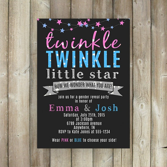 gender reveal party invitation twinkle little star how we, Baby shower invitations