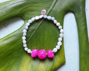 Arm candy bracelet - Amazonite beaded bracelet with three bright pink stones