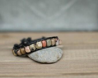 stone beaded leather bracelet, boho beaded leather bracelet, single wrap bracelet, leather wrap bracelet, stone leather wrap