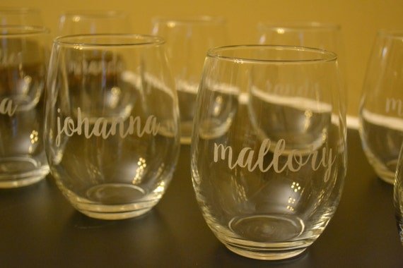 Set of Six Monogrammed Wine Glasses, 6 Wine Glasses, Stemless Wine Glasses, Monogrammed Glasses, Bridesmaid Gifts, Weddings, Personalized