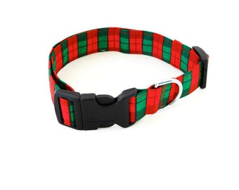 Red and green plaid collar, plaid dog collar, red christmas dog cat collar, plaid cat collar, holiday collar