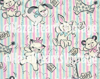 Vintage Baby Wrapping Paper, Animals, It's a girl, It's a boy, kitty, puppy, giraffe, bear, bunny, pink, blue, gender neutral, crafting