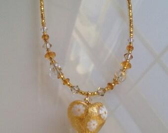 """Venetian Necklace. Murano Glass Jewelry """"Gold Heart with Daisies"""", Murano Glass Necklace. Italian Jewelry. Bijoux Murano"""