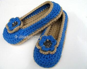 Crochet Slipper Pattern 143 - Crochet Pattern - Womens Slippers With Flower - Shoe Pattern Ladies Women Adult Shoes Slippers Christmas Gift