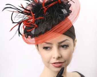 Black and red Melbourne Cup fascinator hat, Royal ascot fascinator, Elegant Kentucky derby hat, Red Couture headpiece, race derby fascinator