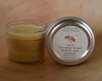 Organic Sweet Orange and Lavender Beeswax Wood Polish and Sealant ~ 4oz.