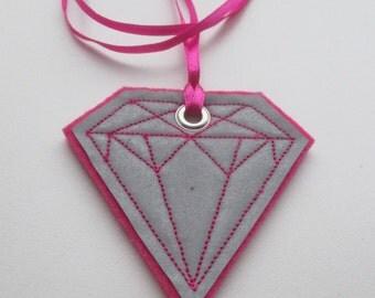 Safety Reflector, Hand made Reflector, Diamond, Fuchsia Color Diamond, Hang pedestrian reflector for coat or bag, Reflective pendant