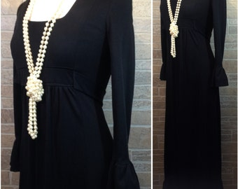 70s long black dress with empire waist and ruffled sleeves and hem - Large