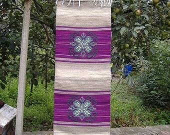 Handwoven wool rug with ornaments, stylish puprle home decor rug with, kilim rug, traditional rug, ornamental rug, bohemian rug,