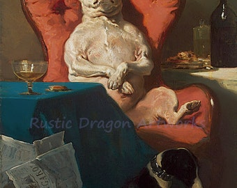 "Alfred Dedreuz ""Pug Dog in an Armchair"" 1856 Reproduction Digital Print Dogs Animals Lazy Dog"