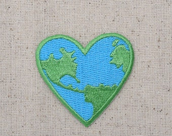 Planet Earth - Heart - Iron on Applique - Embroidered Patch - 694760-A